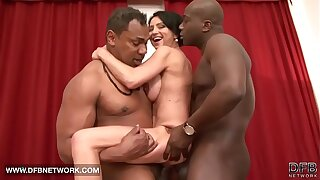 Interracial hardcore adult babe fucked unconnected with two black cocks doublepenetrated anal
