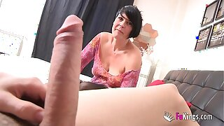 Spanish squirting mature licks Jordi's chunky cock