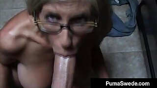 Euro Porn Star Puma Swede Gets Milky Glasses Surcease Blow Job!