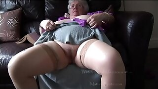 Mature granny on touching massive tits and hairy bush freebooting and teasing