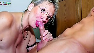XXX OMAS - Dirty German granny gets boned and imperceivable in cum elbow the office