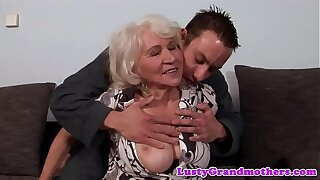 Euro granny gets pussy fucked increased by jizzed on
