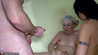 Old granny added to Nice girl utilizing a instrument strapon