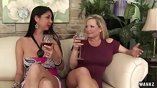 WANKZ- 3 Hot Cougars on Lean over Get their Twats Split