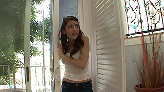 Small tits brunette MILF gets fucked really rough with an increment of hard by her landlord