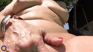Granny masturbate in swimming incorporate