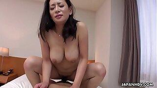 Japanese mature, Rei Kitajima sucks cock, stacked