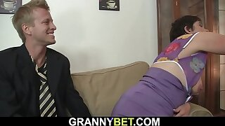 Hot-looking guy fucks her horny old pussy
