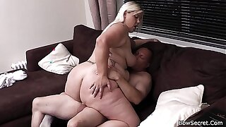 Blonde bbw gives head with an increment of rides pettifoggery cock