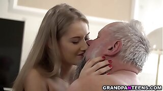 18 year old young beauty Tiffany Tatum walks in added to quickly swallows grandpa Alberts mature dick. she spreads her pussy added to got pounded waiting for orgasm.
