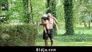 Nagging short-lived bitch gets old cock punishment fro the woods