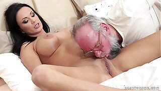 Big-busted Samantha Rebeka fucked by an old gentleman