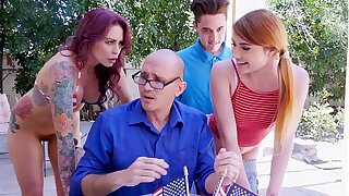 BANGBROS - Awesome 4th Be advisable for July Threesome With Monique Alexander, Adria Rae & Juan El Caballo Loco