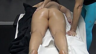 Husband made a massage gift to say no to wife nearby burnish apply desire burnish apply masseur to fingering say no to pussy ! Horny Housewife went to burnish apply appointment for massage without panties!