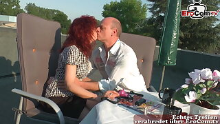 German mature private couple feel in love and fianc� outdoors