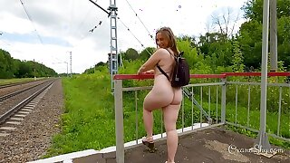 Flashing cumslut on get under one's railway