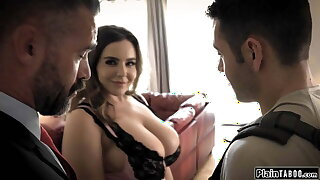 Husband watches his student get sucked by his big bosom wife